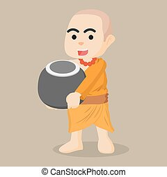 monk holding alms bowl illustration design