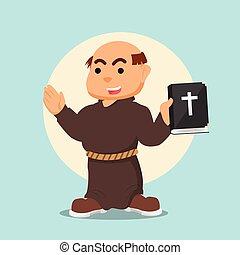 monk holding bible illustration
