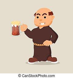 monk holding drink illustration