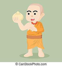 monk holding meatbun illustration
