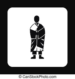 Monk icon, simple style - Monk icon in simple style isolated...