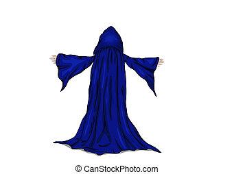 monk., mago, vector, o, ilustración