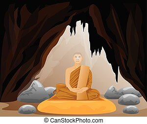 monk meditating vector design