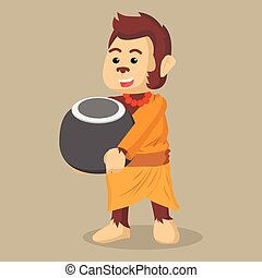 monk monkey holding bowl
