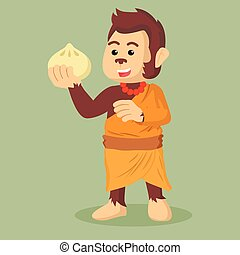monk monkey holding meatbun
