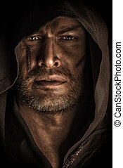 monk old - Portrait of a courageous warrior wanderer in a...