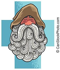 Monk Portrait - Cartoon portrait of old Christian monk with...