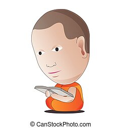 monk read book to learn Dharma,to be guru and wisdom,vector illustration cartoon style