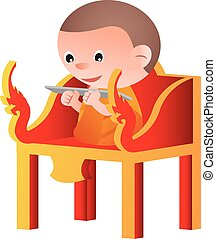 monk sit on a pulpit in the form of an elaborately carved seat,to teach Dharma,isolated big head cartoon version