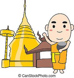 Monk Thai - monk and church temple thailand