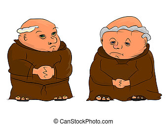 Monk - Two monks isolated on a white background