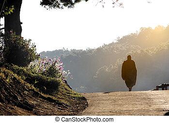 Monk walking in the morning