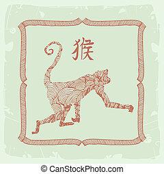 monkey-, 印, 中国語, 黄道帯