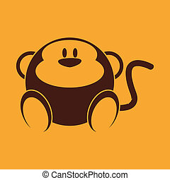 Monkey - abstract cute monkey on a yellow background