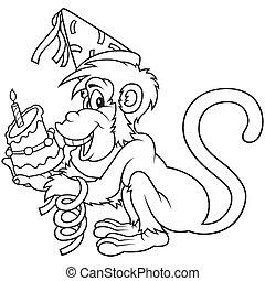 Monkey and Birthday Cake