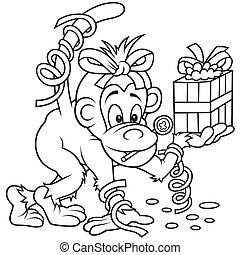 Monkey and Gift - Black and White Cartoon illustration, ...