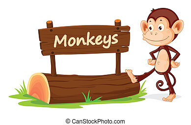 monkey and name plate - illustration of monkey and name...
