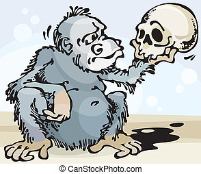 Monkey and Skull. Vector illustration with scalable size.