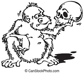Monkey and Skull_Black. Vector illustration with scalable...