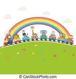 monkey., arco íris, animais, trem, leão, ilustração, caricatura, experiência., vetorial, girafa, selva, elefante, zebra, estrada ferro, tiger
