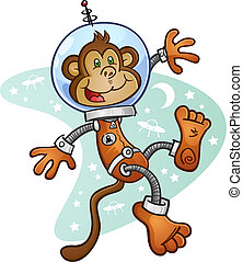 A monkey astronaut wearing a space suit and helmet, floating in zero gravity in front of a retro space background