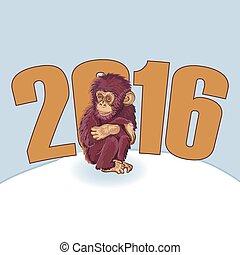 monkey., beau, singe, main, année, dessiné