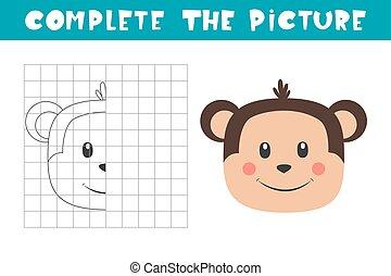 monkey., book., picture., komplet, kopi, page., boldspil, aktivitet, billede, coloring, kunst, børn