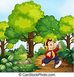 Monkey boy in woods scene