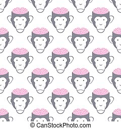Monkey Brains seamless background. Vector pattern of animals.