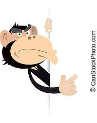 Monkey Businessman Blank Sign