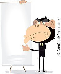Monkey Businessman Holding A Paper Board - Illustration of A...