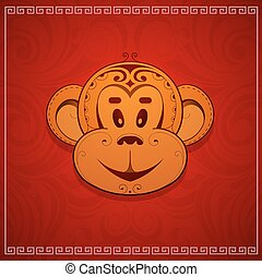 Monkey cartoon as symbol for year 2016 - Monkey cartoon as...