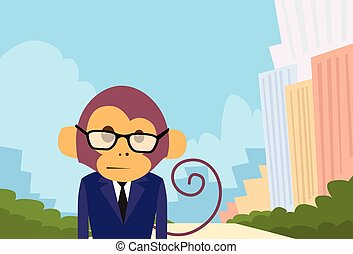 Monkey Cartoon Businessman Suit Profile