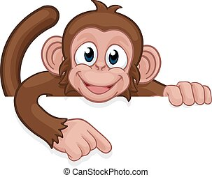 Monkey Cartoon Character Animal Pointing At Sign