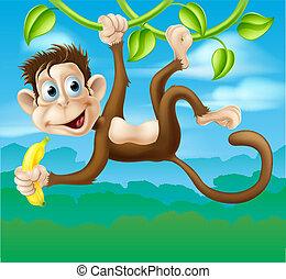 Monkey cartoon in jungle swinging o - An illustration of a...