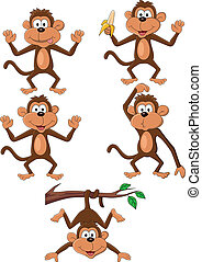 Vector illustration of monkey cartoon set