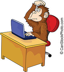 Monkey cartoon With Computer - Vector Illustration Of Monkey...