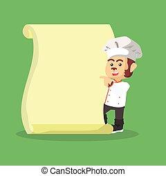 monkey chef with menu