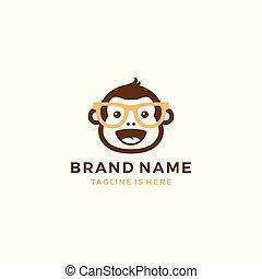 monkey chimp geek smart charm mascot character logo template vector icon