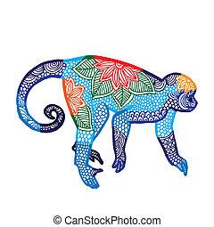 Monkey- Chinese zodiac - Blue Monkey illustration- Chinese...
