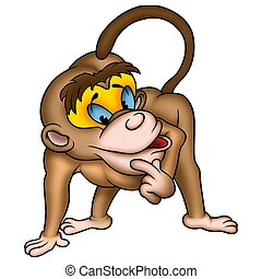 Monkey clever - High detailed and coloured illustration - Clever monkey