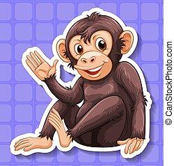 Monkey - Closeup happy monkey with blue background