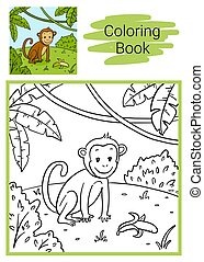 Monkey. Coloring book.