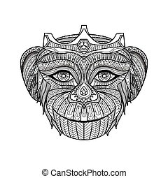 Monkey coloring book - vector, monkey, monkeys, 2016, ape,...