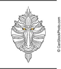 Monkey coloring outlines in boho style. Ethnic hare. Tagged with mandrill print on T-shirts, covers, postcards. Chinese New Year mandrill. Tattoo design. Textile, fabric design. Adult coloring