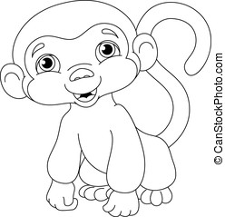 Monkey Coloring Page - Little monkey on a white background