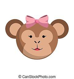 Monkey cute animal head