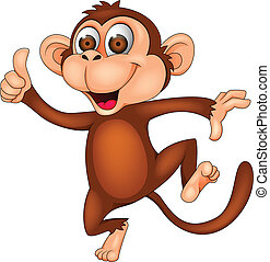 Vector illustration of funny monkey dancing