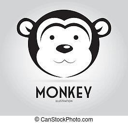 Monkey design over background, vector illustration