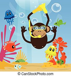 Monkey diving under sea and swimming with fishes.